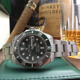 Silver Rolex Submariner Hulk with Green Ceramic Bezel and Green Face Comes Bagged and Boxed
