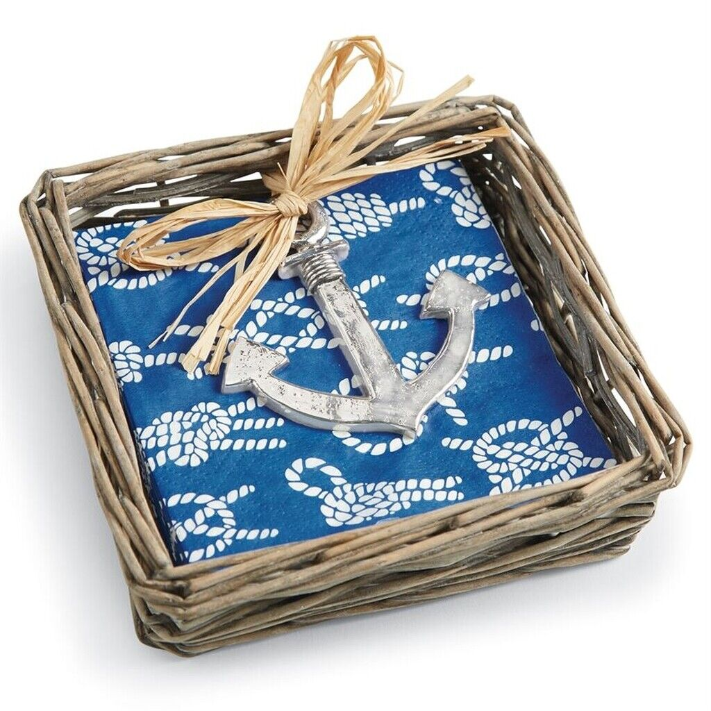 Anchor Willow Cocktail Napkin Holder With Napkins & Weight b