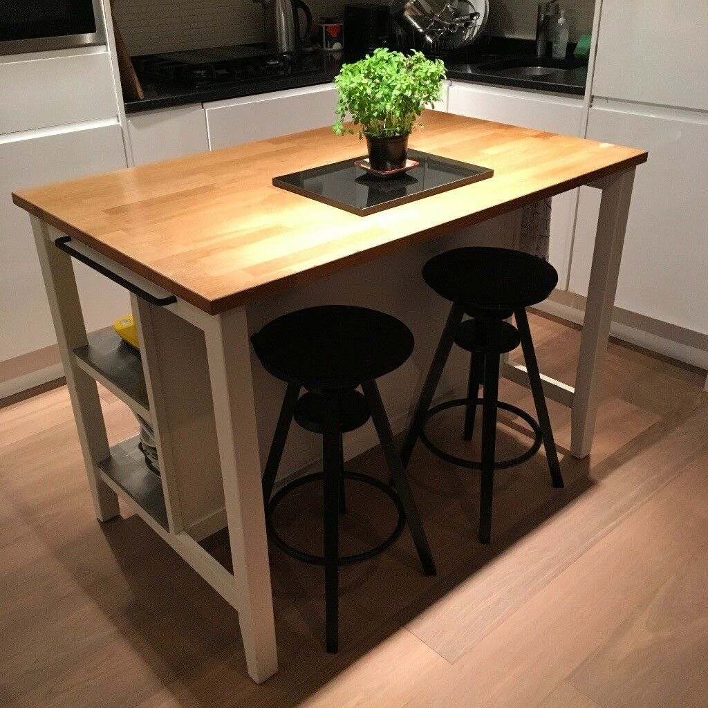 Ikea Stenstorp Kitchen Island / Breakfast Bar With Oak Worktop And Added  Towel Rails