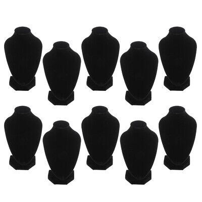 10x Black Velvet Jewelry Chain Bust Display Stands Holder Rack Organizer