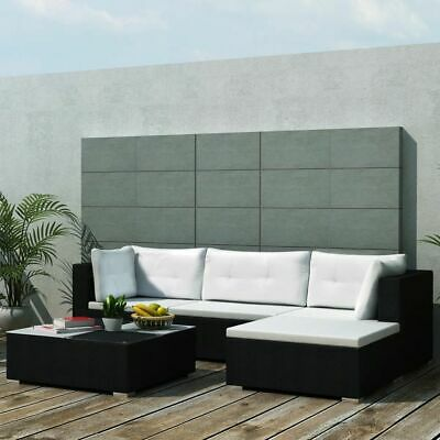 Garden Furniture - vidaXL Outdoor Sofa Set 14 Pieces Wicker Poly Rattan Black Garden Patio lounge