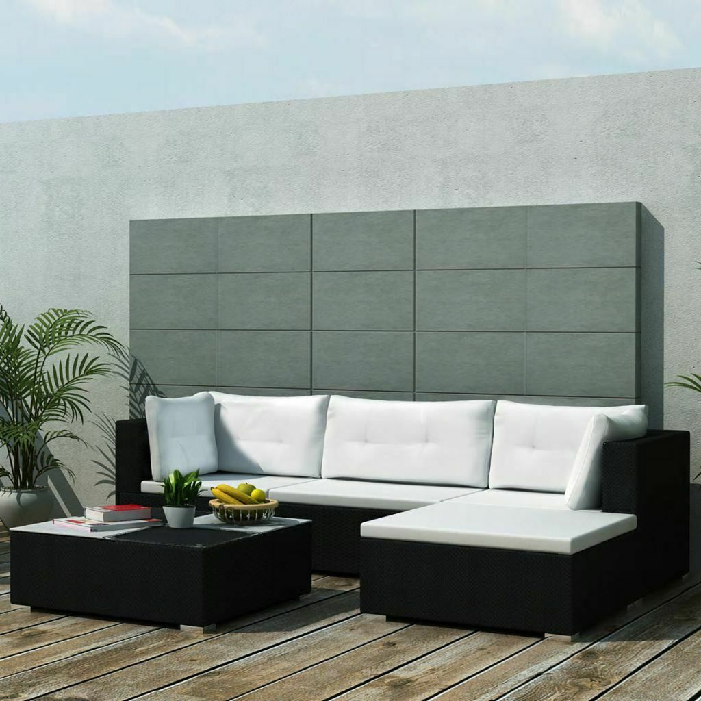 Garden Furniture - vidaXL Outdoor Sofa Set 14 Pieces Wicker Poly Rattan Black Garden Patio lounge