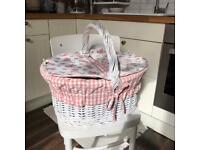 Shabby chic rattan wicker picnic basket hamper white pink