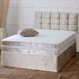 CRUSHED VELVET DIVAN BED + DUAL TURN SPRUNG MEMORY FOAM MATTRESS + DIAMANTE/YORK HEADBOARD