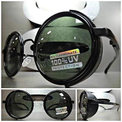 VINTAGE RETRO STEAMPUNK CYBER Round Blinder SUN GLASSES Black Frame - Green (Cyber Glasses)