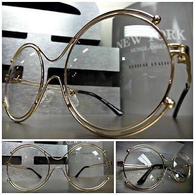 Women's VINTAGE 70's RETRO Style Clear Lens EYE GLASSES Round Gold Fashion (70s Glasses Women)