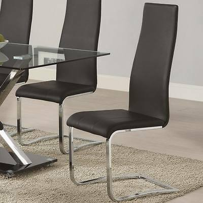 2 Black Dining Chairs - Black Faux Leather Dining Chairs w/Chrome Legs by Coaster 100515BLK - Set of 2