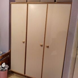 Wooden triple wardrobe (single and double)