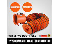 """12"""" 300MM CYCLONE DUST FUME EXTRACTOR VENTILATION FAN + 5M PVC DUCTING"""