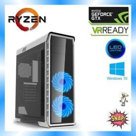 VR READY Gaming PC: AMD Ryzen 3 1200 3.4Ghz, 8GB DDR4, GTX 1050Ti, 1TB, Desktop Computer Windows 10