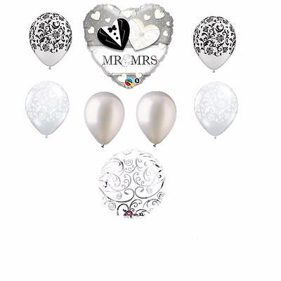 8PC Mr and Mrs Wedding shower Balloon bouquet Damask BRIDAL Groom FREE SHIPPING