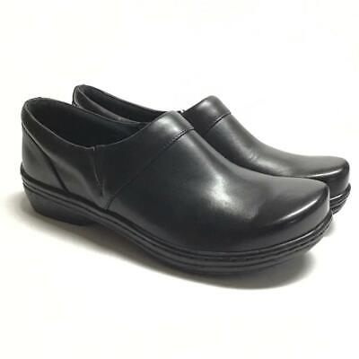 NEW Klogs Mission Womens 11 Closed Back Loafer Clogs Black Smooth Leather