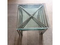 Glass and steel nest of 3 tables