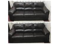 Brown leather 3&3 Seater sofas comfortable