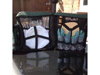 Brand New Green Canvas Picnic Backpack, Includes Cutlery, Crockery And Glasses For 4