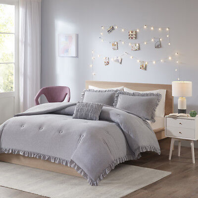 Intelligent Design Stacey Jersey Knit with Ruffles Comforter Set