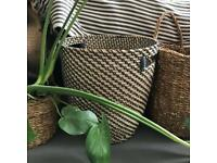 Woven bamboo/seagrass basket/plant pot houseplant