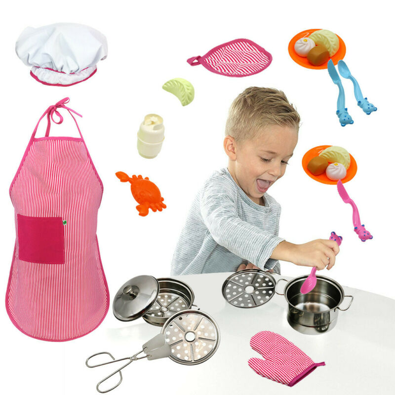 Kitchen Pretend Playset With Stainless Steel Cookware Set An