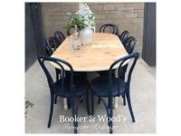 Beautiful pine extending table & 8 chairs