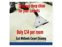 East midlands carpet cleaning service £14 per room