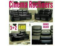 Leather 3+2 or Corner Cinema Recliner Sofas - Asap Delivery