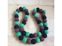 Felt Handmade Natural Wool Beads Long Necklace Design A