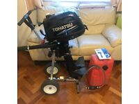 4HP Tohatsu outboard barley used with extras Trolley/ Fuel tank. MERCURY MARINER