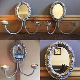 Vintage tea light holders with mirrors (pair of)