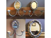 Vintage tea light holders with mirrors (pair of)