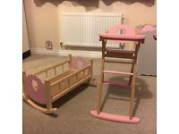 Wooden Cot, Highchair & Ironing Board with Iron