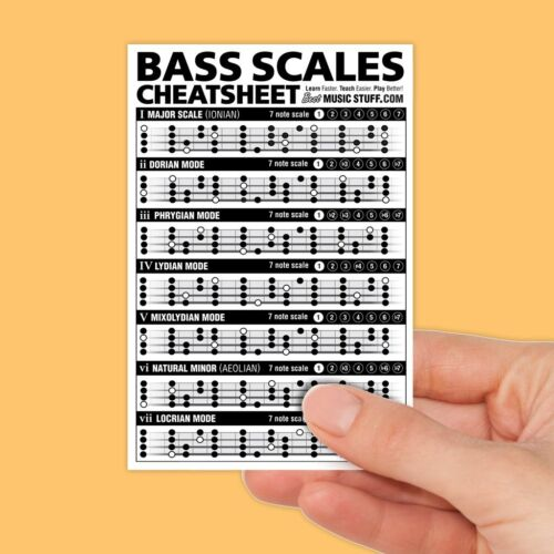 "Bass Scales Cheatsheet Pocket Reference (Laminated & Double Sided) 4""x6"""
