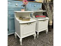 Olympus Furniture pair of white bedside cabinets Louis XV Style French Style