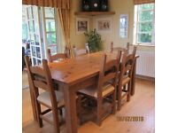Farmhouse Style Dining Table & Six Chairs