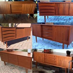 REFINISHED Mid Century Modern Teak, Walnut, Rosewood Sideboard TV Media Record Console Buffet Shelves Credenza from $400