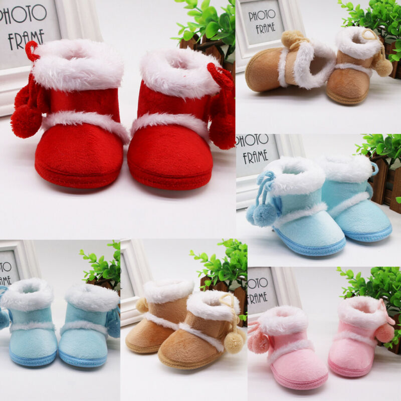 Infant Newborn Baby Girls Cashmere Plush Winter Boots Bandag