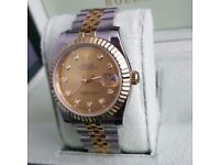 TwoTone Gold Face Rolex DateJust Comes Rolex Boxed with Paperwork