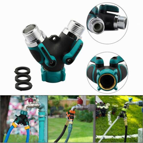 2 Way Heavy Duty Garden Hose Splitter Y Shape Valve Water Pipe Connector 3/4″ US Home & Garden