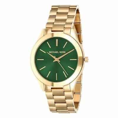 Michael Kors MK3435 Women's Slim Runway Green Dial Yellow Gold Tone Watch