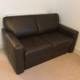 Brown leather double sofa bed - excellent quality!