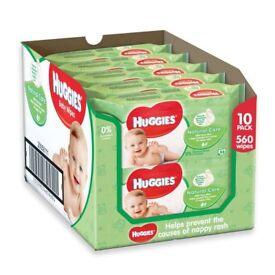 10 individual pks of Huggies Natural Care Baby Wipes. With Vitamin E & aloe vera