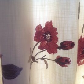 Lovely raised stitch floral and cream curtains fully lined thick curtains,208 Cm Wide, 175 Cm Long