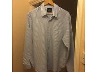 Casual Blue Stripe Classic Fit Linen Button Down Collar Shirt