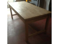 Wonderful Large Traditional Solid Pine Farmhouse Kitchen Table with Three Drawers