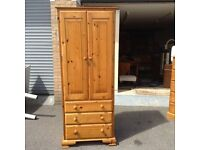 Solid Pine Double Wardrobe with 3 Drawers