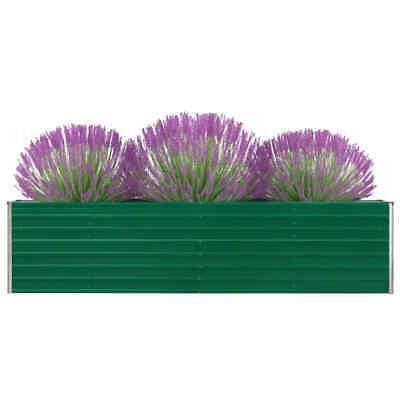 vidaXL Jardinera de Jardín Acero Galvanizado Verde 320x40x77cm Macetero Patio