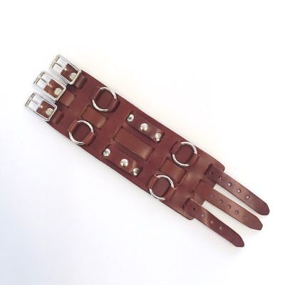 Biker Dark Brown Leather Studded Wide Watch Band Buckle Close - 70s USA Made