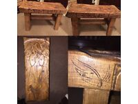 Solid hand carved wooden bench with Latin 'Guardian angel'