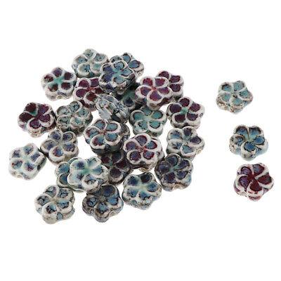 30Pcs Flat Flower Ceramic Spacers Loose Beads Porcelain Charms DIY 13x13x3mm 3' Loose Flat Ceramic
