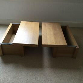 2 Ikea Malm blanket boxes with sliding top