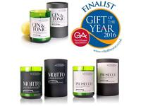 Vineyard Candles, prosecco, gin and tonic, alcohol cocktail inspired scented candles